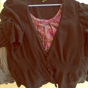 Pretty sweater & beautiful faux blouse